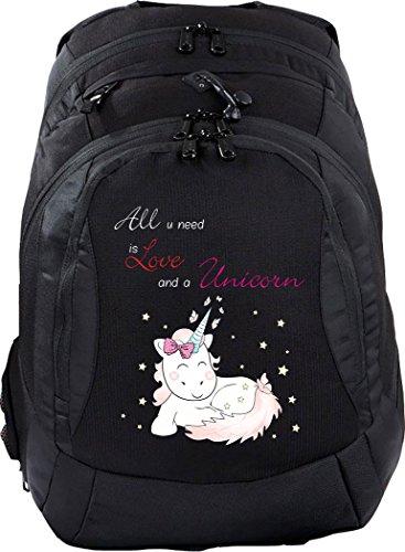 Schulrucksack Teen Compact Schultasche Rucksack Einhorn cutie All you need is Love and a Unicorn