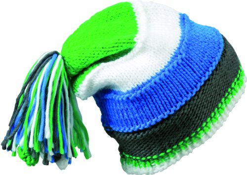 Myrtle Beach Strickmütze Knitted Beanie with Fringes, Aqua/Lime-Green/White/Carbon, One Size, MB7954 aqli