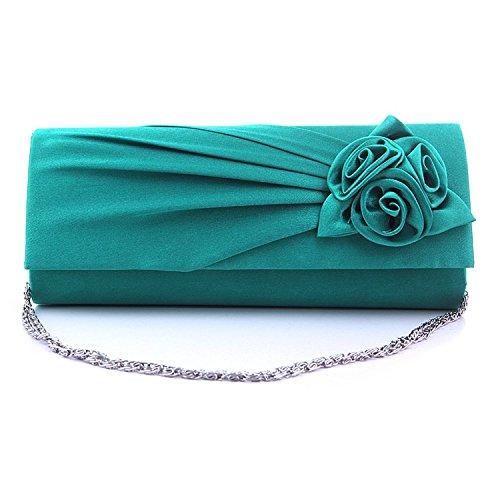 hellodd da donna sera borsa frizione borsa con tracolla, Rosa Turquoise