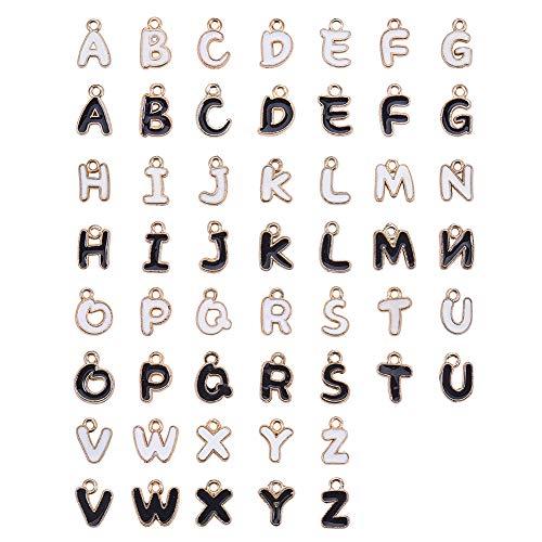 k & White Alphabet Buchstaben A ~ Z Initial Charms Licht Gold Legierung Emaille Anhänger Charms für DIY Armband Halskette Ohrring Machen ()