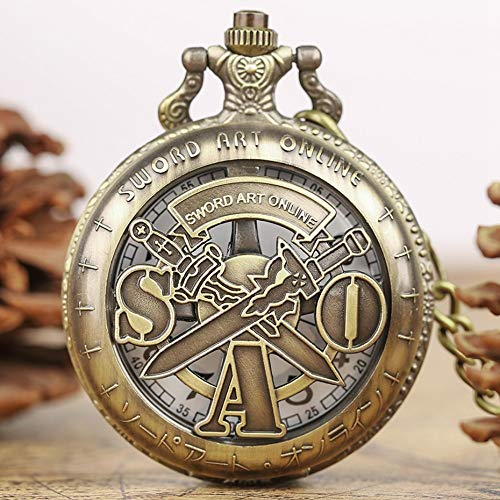 DIANN TaschenuhrRetro Schwert Art Online Quarz Taschenuhr Männer Frauen Halskette Anhänger Analog Quarz Kette Geschenke Bronze Hohl Uhr