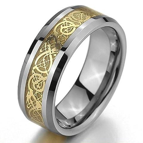 Adisaer Edelstahl Ringe Herren Vintage Silber Gold Celtic Knot Dragon Punk Retro Größe 71(22.6)