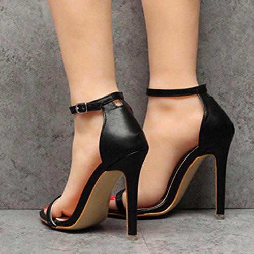 Oasap Damen Offen Knöchelriemen High Heels Sandalen Black