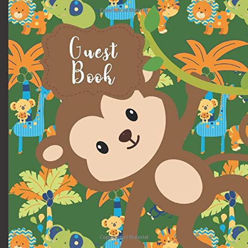 Guest Book: Gorgeous Monkey Theme Party Guest Book Includes Gift Tracker and Picture Memory Section (Monkey Party Guest Books, Band 12) (Book 12 Monkeys)
