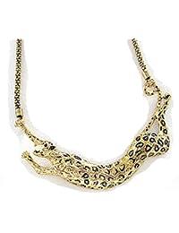 Leopard-Tier vergoldet Anhänger Collar Geschnitzte Halskette Necklace Kette Schmuck