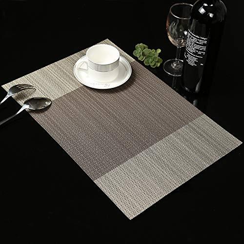 Leisial 6PCS Sets de Table PVC Antidérapant Lavable Résiste à la Chaleur Sets de Table Rectangulaire Résistant à l'usure pour Cuisine Salle à Manger(Brun)