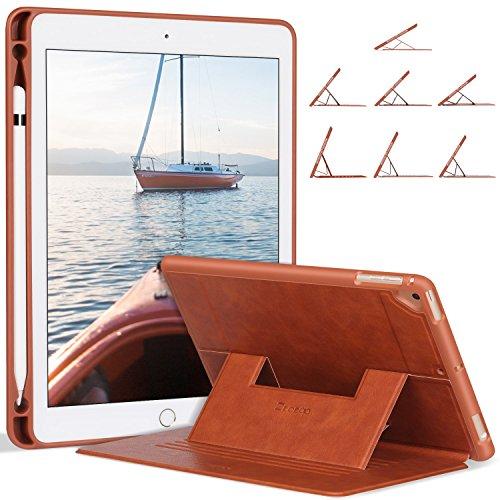 Ztotop Hülle for iPad 9,7 2018/2017/Air 2/Air,Stark magnetisch Schutzhülle mit Stifthalter und mehrere Blickwinkel,Soft Cover für 9.7 Zoll 5/6 Generation(A1893/A1954/A1822/A1823),Braun (Ipad Soft-cover)