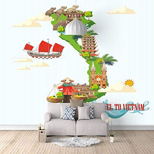 Seide Fototapete Aufkleber Vietnam 3D Wandbild für Schlafzimmer Wohnzimmer Küchen Wandkunst Dekoration Poster 400x280cm -