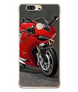 Fuson Designer Back Case Cover for Huawei Honor V8 (Motorcycle Racing Road rash Big wheels Yamaha)