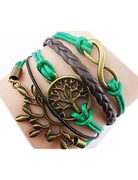 Twinkle Handmade–Lederarmband, Anhänger mit Symbolen: Unendlichkeit, Wunschbaum und Blatt, für Jungen und Mädchen...