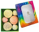 Saules Fabrika Badebomben Geschenk-Set Aromatherapie Deluxe Wellness Pflege 550g vegan handgemacht x6 Badekugeln (Fruit)