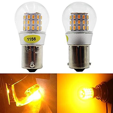 2-pack 1156BA15S 1156NA 7506114110031073Extremely Bright Amber/Yellow LED Light 10–30V-DC, amazenar ak-3014Chipsets 39SMD Car Replacement for Turn Signal Light Lamps Tail Backup bulbs