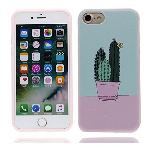 iPhone 7 Custodia, iPhone 7 Copertura Crystal Case gel trasparente [Slim-Fit] [Anti-Scratch] [assorbimento di scossa] iPhone 7 Copertura 4.7 (Cactus) # 6