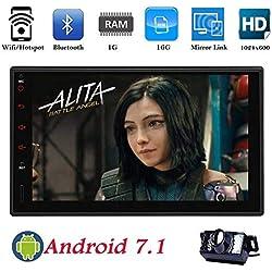 Android 7.1 estéreo Quad Core 1G 16G + Doble DIN Car Radio de la Pantalla táctil de 7 Pulgadas en el Tablero de navegación GPS Ayuda WiFi Bluetooth Espejo Enlace SWC OBD2 con la cámara de Copia de s