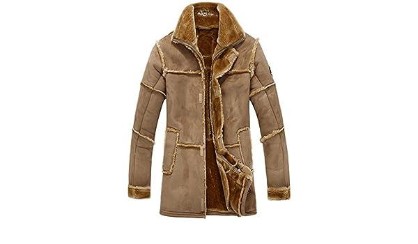 5ea974688ab1d Herren Lange Winter Pelz-Mantel Warme Luxuriös Wildleder Leder Mäntel Jacke  Lambswool Futter Parka (X-Small