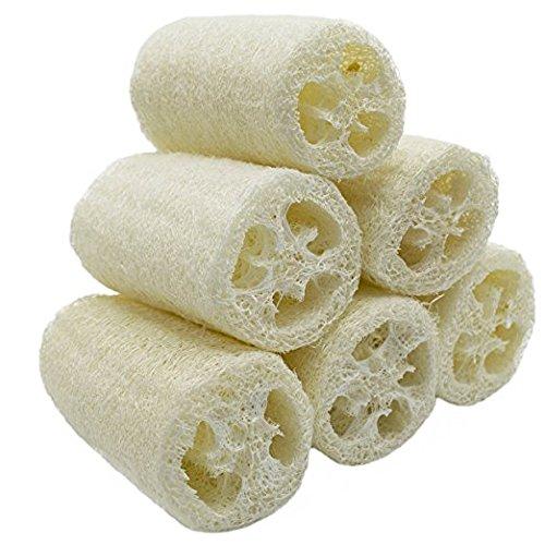100% natural seis (6) paquete de (aproximadamente 12.5cm de longitud) Luffa Loofah Spa piscina Depurador Exfoliante mejor Luffa esponja de lavado del cuerpo Retirer la piel muerta
