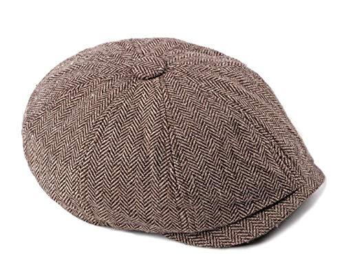 FENGFA Schirmmützen Herren Flat caps Retro Newsboy Stil Tweed Gatsby Baker Boy mütze (Braun) -