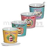 matches21 Eisbecher Eis Becher 4er Set Ice Cream Retro mit Löffel rosa / hellblau / gelb / mintgrün Keramik je 9x7 cm 200 ml