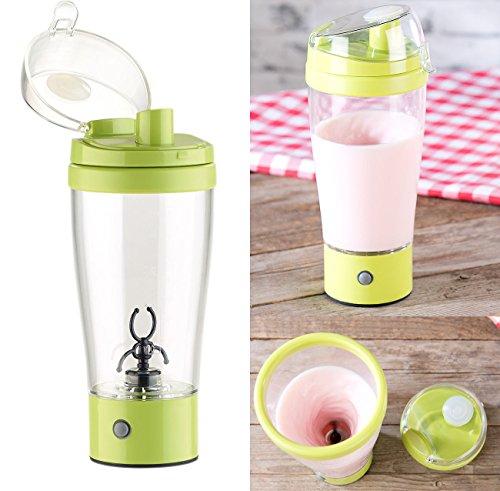 Rosenstein & Söhne Selbstrührender Becher: Selbstrührender Trinkbecher mit elektrischem Quirl, 450 ml, BPA-frei (Shaker)