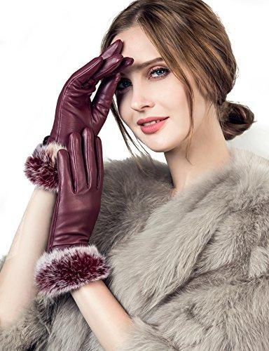 YISEVEN Gants Cuir Femme Hiver Chaud Gant Tactile Chauffant Double Fourrure Lapin Peau de Mouton en Laine Veritable de Conduite Sexy Cadeau, Vin Rouge S