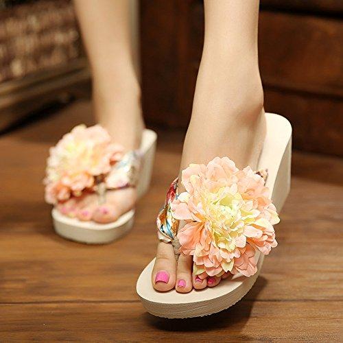 ... Böhmische Blumen Keilabsatz Damen Pantoletten Zehntrenner Sandalen  Urlaub Strandschuhe Hausschuhe Sommer Schuhe slippers Beige-Pink