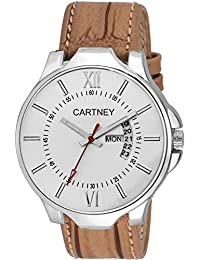 Cartney Analog White Dial Day & Date Watch For Men & Boy's (DDWHT2)
