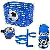Ventura Unisex - Bebé Soccer Set Accesorios para Bicicleta Infantil Cesta, Campana, Botella, Azul