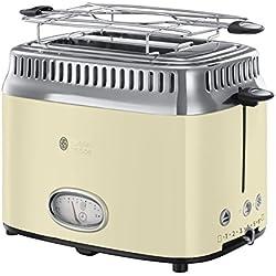 Russell Hobbs 21682-56 Toaster Grille-Pain Retro, 3 Fonctions, Température Ajustable, Réchauffe Viennoiserie, Design Vintage - Crème