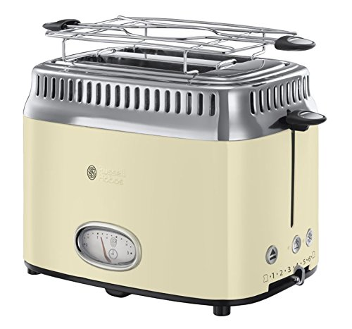 Russell Hobbs Retro Collection Tostapane, 1300 W, Acciaio Inossidabile, 2 Scomparti, Crema
