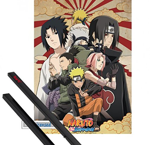 Naruto Paar (1art1 Poster + Hanger: Naruto Mini-Poster (52x38 cm) Naruto Shippuden Group No. 2 Inklusive Ein Paar Posterleisten, Schwarz)