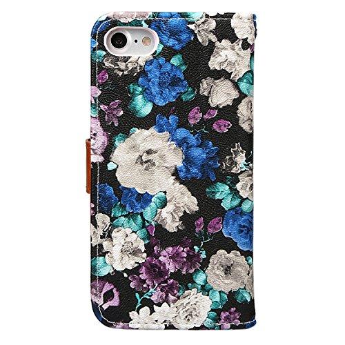 """xhorizon FM8 Blumenmuster Leder Brieftasche Fall Mit Perfektion Prime Design für iPhone 7 (4.7"""") lila"""