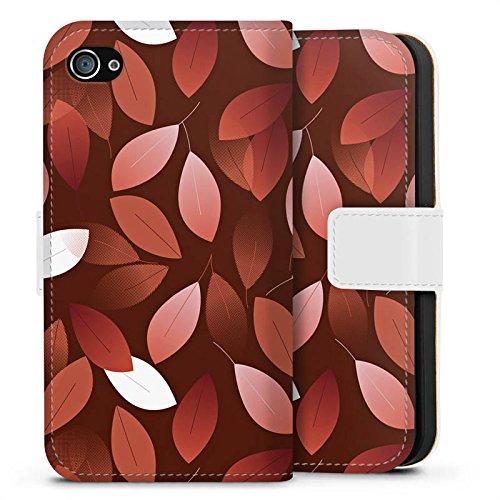 Apple iPhone SE Hülle Case Handyhülle Herbst Blätter Bronze Sideflip Tasche weiß