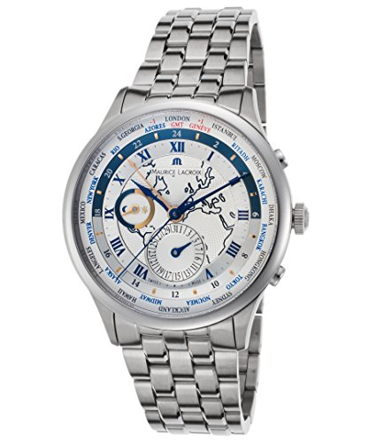 Maurice Lacroix Mp6008-Ss002-111 Men's Masterpiece Automatic Gmt Ss Silver-Tone Dial Ss Watch