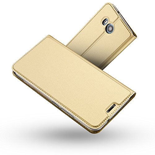 HTC U11 Hülle,HTC U11 Lederhülle,Radoo® Premium PU Leder Handyhülle [Ultra Slim][Kabelloses Aufladen Unterstützung] Brieftasche-stil Magnetisch Folio Flip Klapphülle [Transparenter TPU Stoßfänger] Etui Brieftasche Hülle [Karte Halterung] Schutzhülle Tasche Case Cover für HTC U11 (Gold)
