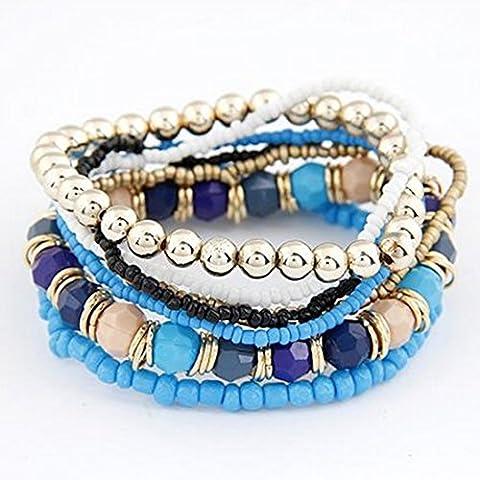 Toraway Manera de las mujeres de Boho del estilo de múltiples capas de acrílico de la pulsera con cuentas Beach (Azul oscuro)