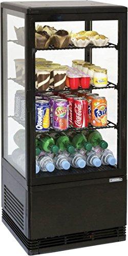 Casselin Kühlvitrine 78l weiß oder schwarz 160W - Innenbeleuchtung - Umluftkühlung, Farbe:Schwarz