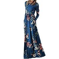 Moonuy Frauen Langes Kleid Damen Langarm Kleider Weibliche Blumendruck Taschen Empire Taille Gefaltete Lange Maxi Abendkleider für Mädchen
