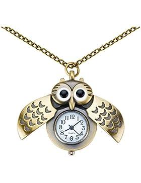 Taffstyle Damen Halskette Uhr mit Eulen Anhänger