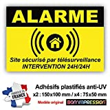 Autocollant Alarme + plastification de Protection Anti UV : Site sécurisé par télésurveillance - Intervention 24H/24H - ANJ (Lot 1 : 2+4)...