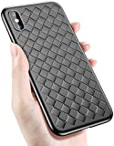 AVANA iPhone X Hülle Schutzhülle Ultra Slim Fit Case Gewebtes Muster Etui Leder Optik Tasche Silikon TPU Handyhülle Dünne Schwarze Schale Cover für Apple iPhone 10/iPhoneX