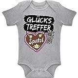 Shirtracer Oktoberfest Baby - Glückstreffer mit Spatzl Lebkuchenherz - 12-18 Monate - Grau meliert - BZ10 - Baby Body Kurzarm Jungen Mädchen