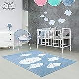 Kinder-Zimmer-Teppich im bunten Wolken Design oder Uni Farben | rund oder rechteckig | Ideal für Jungen, Mädchen oder im Baby-Zimmer | Ökotex Zertifiziert (Blau - Wolken, 120 x 170 cm)