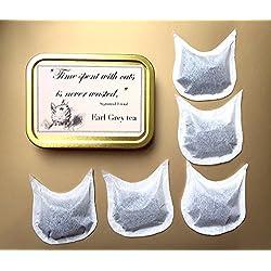 Personalisiertes Geschenk 5CAT Shaped Teebeutel, Earl Grey Tee & Rosenblätter, Cat Lover Geschenk, Crazy Cat Lady Geschenk, Geburtstag Geschenk, Geschenk für Best Friend, Geburtstagsgeschenk