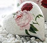 Rosen Herz, Dekoherz Rosenmuster, Keramik Herz, Gartendeko Herz