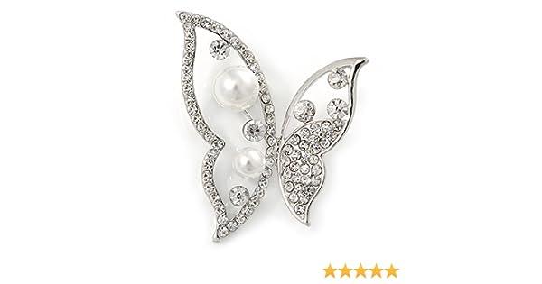 Avalaya Broche asym/étrique en plaqu/é rhodium Perle de verre Cristal transparent En forme de papillon Longueur de 50/mm