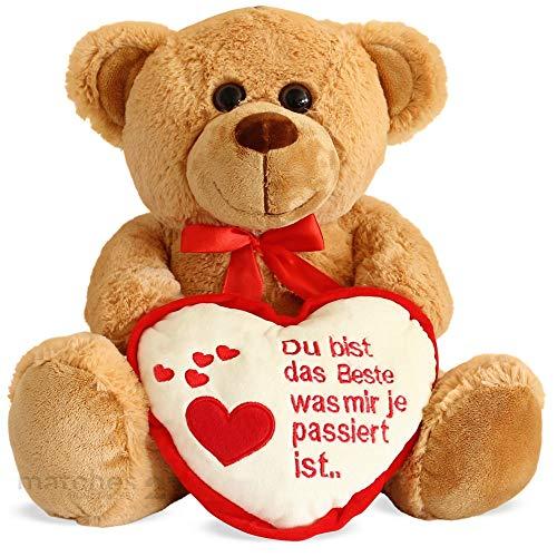 matches21 Teddybär Teddy mit Herz DU BIST DAS Beste Hellbraun / beige 25 cm Geschenkidee Klassiker Partner Freundin Valentinstag