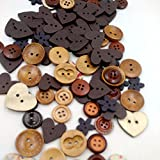 #3: Magideal Mixed Color Wooden Buttons Sewing Kids Scrapbooking DIY Craft Coffee