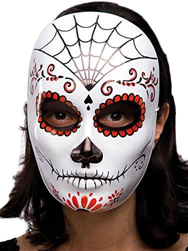 de los Muertos Halloween Maske Spinnennetz Weiss-rot-schwarz Einheitsgröße ()