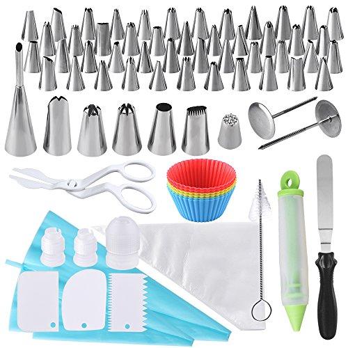 AUSTOR 100 Stück Spritztüllen Set Deko Decorating Tools Aus Edelstahl Spritzbeutel Aufsatz Muffinformen Silikon von Torten Deko