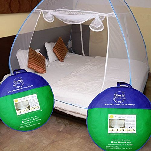 Storia Elite Living Mosquito Net 200*200*145 Cms, Can Easily Accommodate Bed From 5'X6' To 6.5'X6.5'